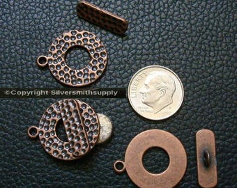 3 Copper pl 23mm 7/8 in Hammered toggle jewelry clasps bracelet necklace fpc366