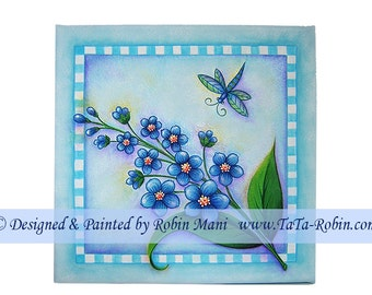 274 Forget-Me-Nots w/ Dragonfly Decorative Painting Pattern