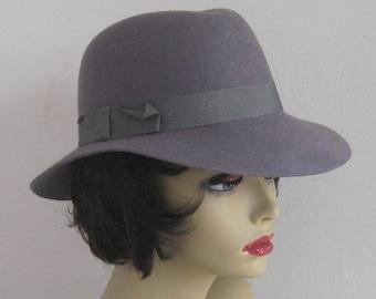 fedora . gray felt fedora . grey felt hat . wide rimmed felt hat