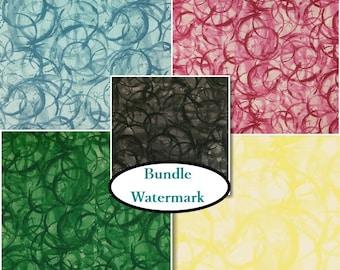 5 prints, 1 of each, Studioe, Watermark, bundle, fat quarter at mètre