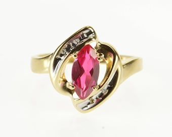 10K Marquise Ruby* Diamond Channel Accent Freeform Ring Size 7 Yellow Gold