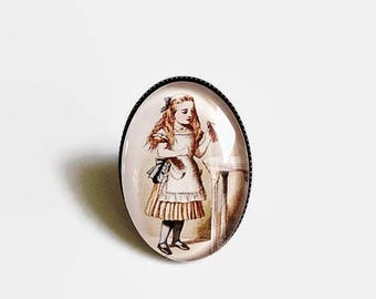 ring bronze * Alice * Wonderland, glass cabochon