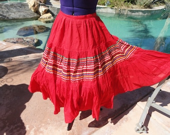 "Vintage 1950s squaw patio skirt full circle cotton XS/S swing ballroom dance red 26"" waist"