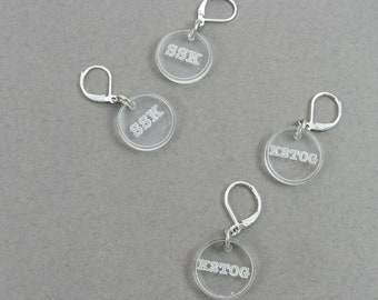 Stitch Markers - Knitting Accessories - Shown in Clear, Choose Your Colors to Customize - SSK and K2TOG