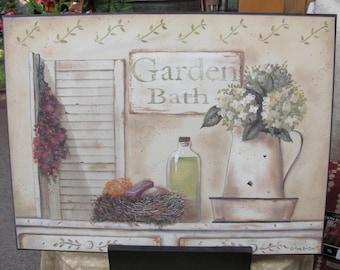 Bath Wall Decor,Country Bath,Primitive Bath,Garden Bath,16x12,Pam Britton