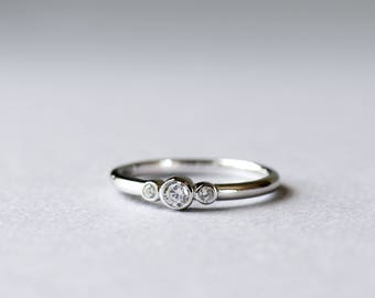 14k White Gold Trio Ring, Bezel Ring, Rose and Choc Ring, Three Stone Ring, Dainty Ring, Minimalist Ring
