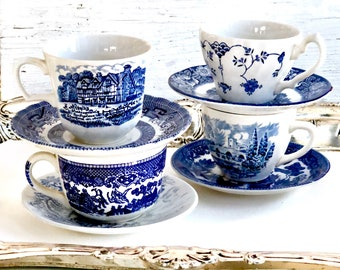 Blue Tea Cups, Farmhouse Decor, 4 Mismatched, Blue and White Vintage China,Teacups, Mismatched China, Bridal Shower Tea, Shabby Chic Wedding