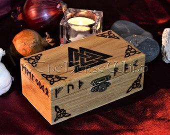 Valknut Box Odin's symbol Box Tarot Box Runes Box Vikings Altar Norse Mythology Asatru Keepsake Box Viking Jewelry Box Wicca Pagan