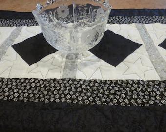 Elegant Black and White Table Runner