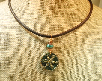 Bronze Clay Pendant Made From Antique Button