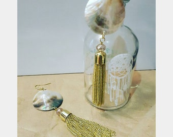 Gold Pearl Tassel Earrings