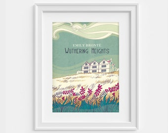 Wuthering Heights illustrated poster - Emily Bronte - literary print (12,60 x 18,10)