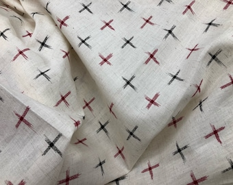 Indian Linen Cotton blend fabric, By the Yard, sewing fabric, quilting fabric, cross print, Indian Fabric, Tribal print,  Boho Fashion Print