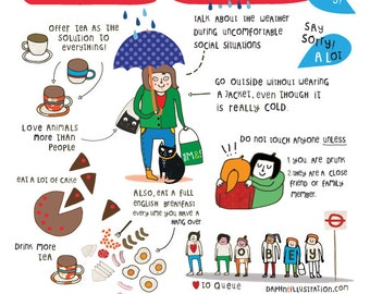 How to be English -  English comic humor Art print - drawing - handmade - illustration - by messy my