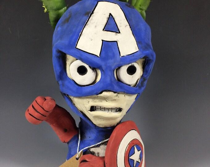Captain American // Pothead // Ceramic Planter // Small Decor // Home // Office // Planter // Superhero // Comic Book //  Comics //