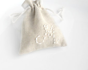Personalized  drawstring cotton pouches Party favors, Bridesmaids jewelry gift, baby shower pouches