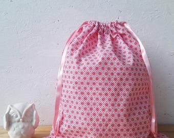 Bag pouch pink M - 35 x 30 cm - geometric stars fabric - wool flower
