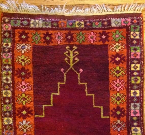 Jerusalem Prayer Rug: Antique 4 X 3 Turkish Prayer Rug Oriental Hand Knotted Wool