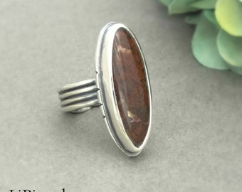 Silver Agate Ring, Plume Agate, Sterling Silver, Statement Ring, Silver Jewelry, Metalsmith, Artisan Jewelry