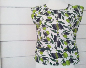 Womens Tunic Top Cotton Top Australian Made Ooak Top Shirt Blouse Crop Top Printed Olive Top Retro Medium Top Pocket Top Green Tops and Tees