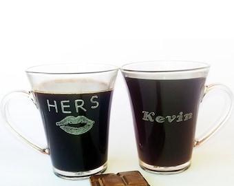 Personalized glass coffee cup, Coffee mug  with a name - hand engraved, Unique coffee mugs, Coffee mug set