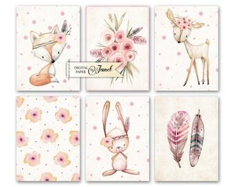 Zeitschrift Karten - Tiere - Projekt Life - digitale Collage Blatt - Set von 6 Karten - Printable Download