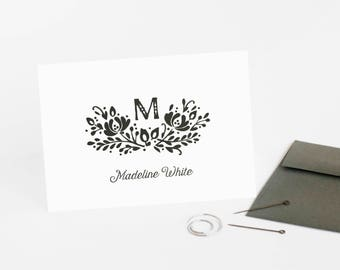 Wildflower Note Cards, Set of 12 Monogram Personalized Stationery, Stocking Stuffer for Her // WILDFLOWER WHIMSY