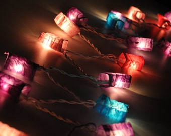 35 Bulbs Classic purple tones mulberry paper Geometry spring Lanterns for party & decoration