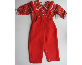 Little girls red floral dungaree and blouse set 1970's new with tags vintage age 1 and 18 months