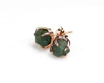 Raw Emerald Earrings. Emerald Rose Gold Earrings. Raw Emerald Studs. Gold Emerald Studs. Raw Gemstone Earrings. Rough Emerald Earrings.