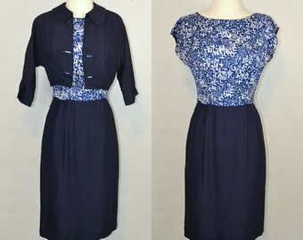 1950s/1960s Blue Geometric Print Blouse Sheath Dress and Matching Bolero, Needs TLC