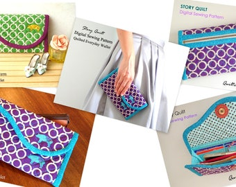 Digital sewing pattern | Easy to sew quilted everyday long wallet digital sewing pattern | wallet pattern | clutch pattern | bag pattern