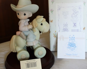 Precious Moments Members Only Club Figurine: 1998 Happy Tails, Little Cowboy on a Hobby Horse