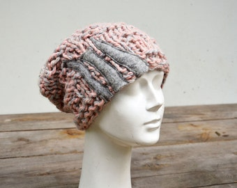 Slouchy knit hat hand knitted pink grey soft warm chunky ooak, unique fashion design art felt stripes applique, winter boho beanie 13