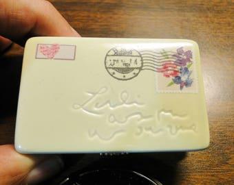 """Hallmark Stamp Trinket Box - Hallmark Stamp Holder Trinket Box - Porcelain - 7/8"""" X 1 3/4"""" X 2 3/4"""" - Marked Hallmark - Nice!"""