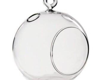 "4.5"" Glass Plant Orb/Terrarium Round Bottom"