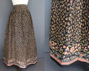 70's Maxi Skirt    70's Calico Floral Quilted Lord And Taylor Maxi Skirt