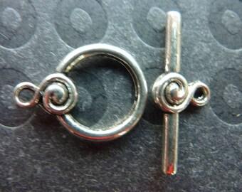 14 22x16x4.27x10x4mm silver metal toggle clasps