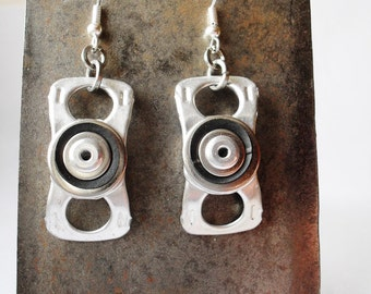 Eco Friendly Dangle Earrings, with Black Rubber, Recycled Can Tabs, Inner Tube, Rivets