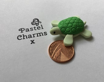 handmade clay charm sea turtle pack of 2