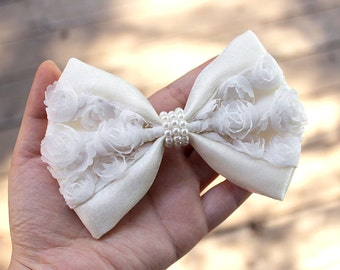 """5"""" White & ivory hair bow, wedding hair bow, wedding hair accessory, white hairbow, chiffon rosette shimmering ivory pearls hair bow"""