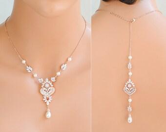 Back Drop Bridal Necklace, Rose Gold Backdrop Necklace, Swarovski Pearl Necklace, Back Necklace, Flower Leaf Necklace, Bridal Jewelry, EZMAE