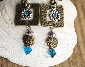 Antique Brass & Silver w/Turquoise Earrings
