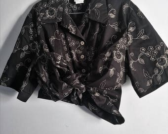 Black Retro Floral 90s Flowers Embroidered Summer Button Up Shirt