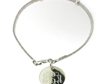 Monogrammed 925 Sterling Silver Wire Personalized Bracelet