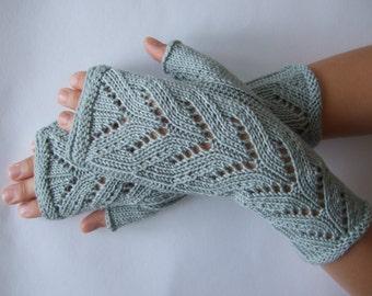 Knitted of 100 % MERINO wool. Light BLUE / GREENISH fingerless gloves, wrist warmers, fingerless mittens. Handmade.