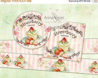 SALE - 40% OFF Labels Shabby Chic Strawberry Cupcakes - Set of 2 Printable Sheet - digital Labels - digital Tags