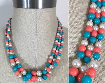 30% Off Sale Vintage Turquoise Coral Pearl Graduated Bead Triple Strand Twist Necklace