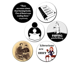 Choose a Reading Magnet - For Librarians, Students and Booklovers  - Choose One 2.25 inch Reading Fridge Magnet