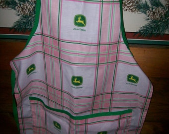 Pink Tractor Childs Full Apron